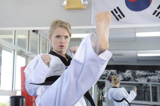 Practicing Tae Kwon Do