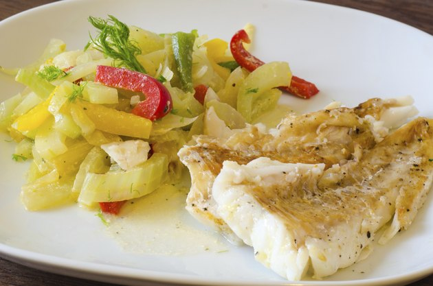 Grilled codfish with vegetables
