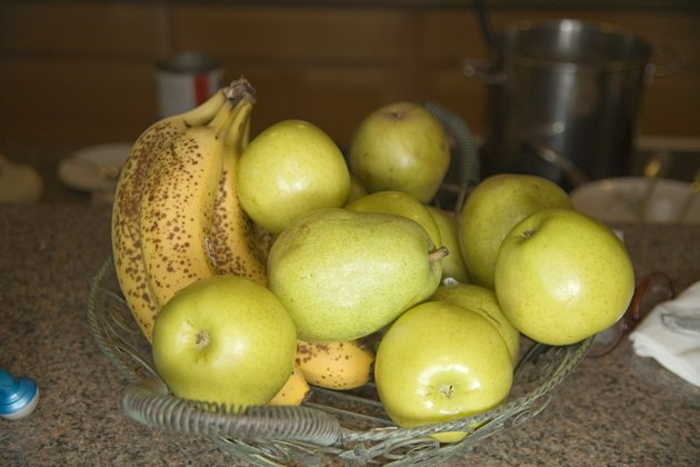 Ripe Bananas and Green Apples and Pears