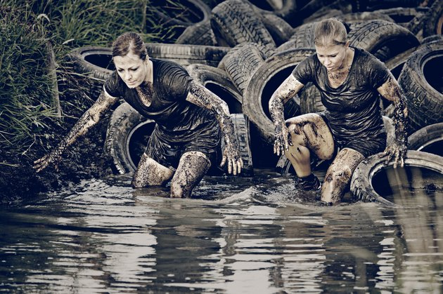 Women doing Tough Mudder
