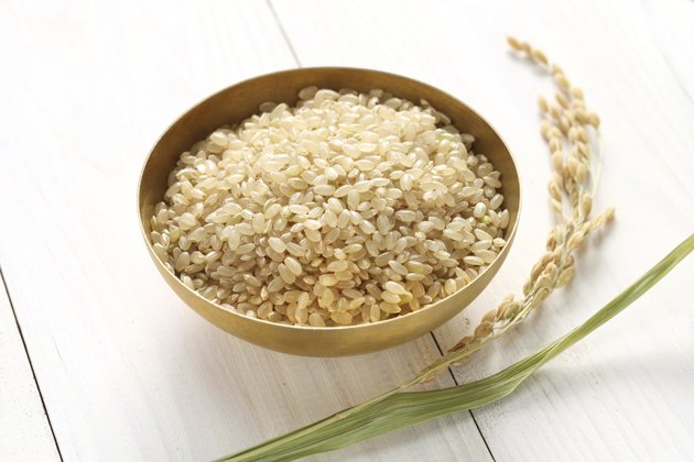 brown rice with ear of rice