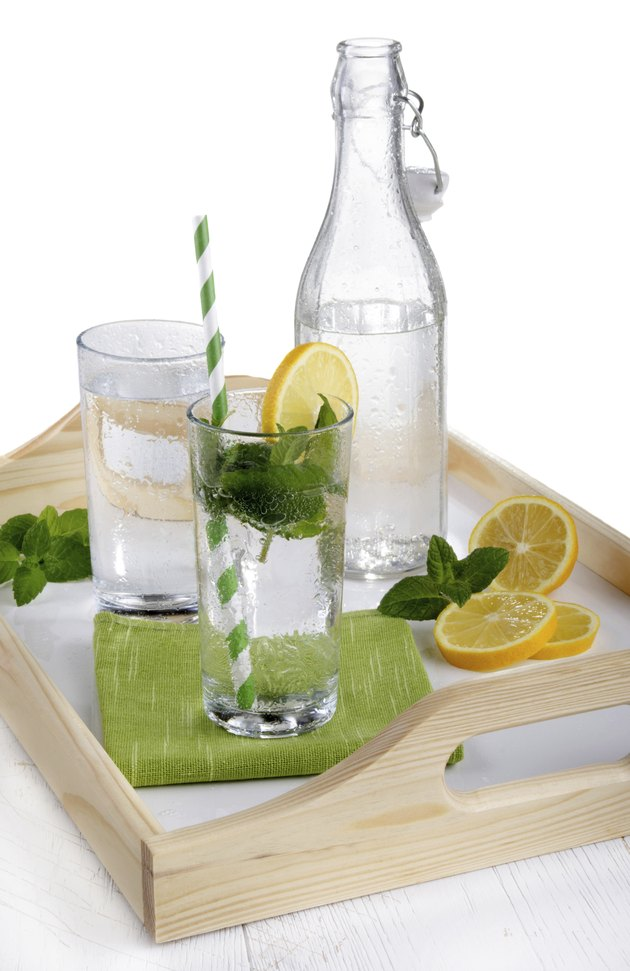 mineral water with mint and lemon slice