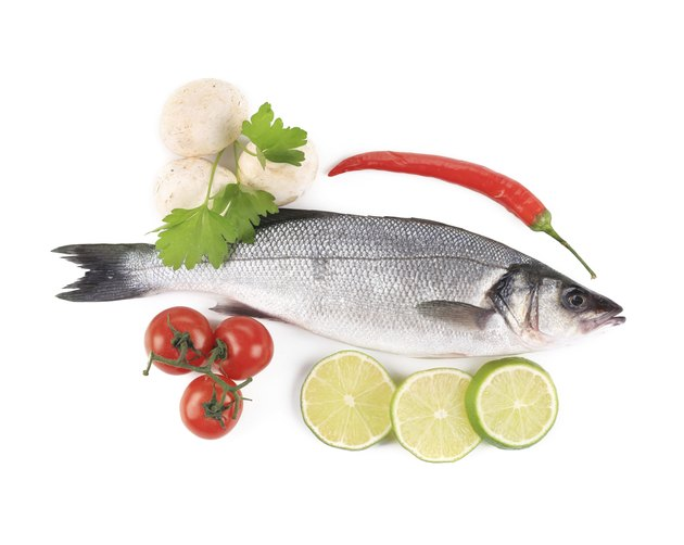 Fresh seabass with pepper and mushrooms.