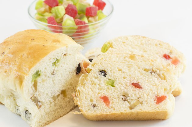 Fruit bread and a bowl of various dry fruits