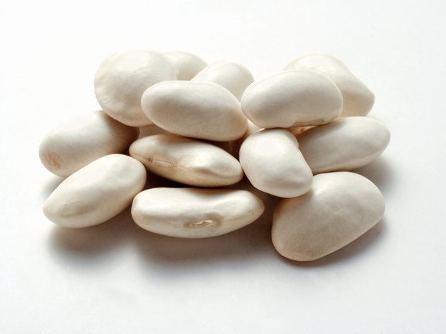 Cannellini beans on a white background