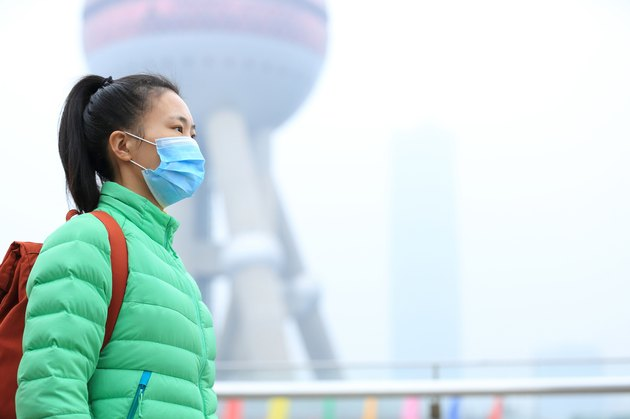 worried young woman wear a mask at the pollution city