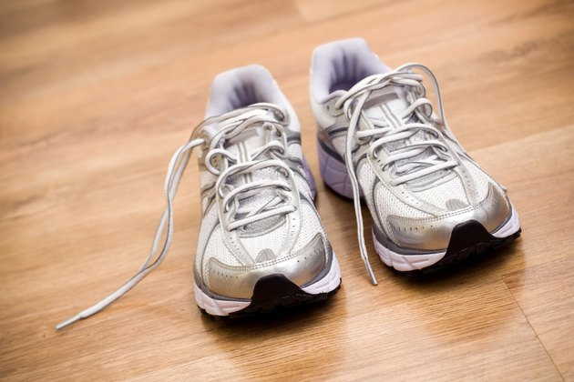 Running shoes after workout at gym