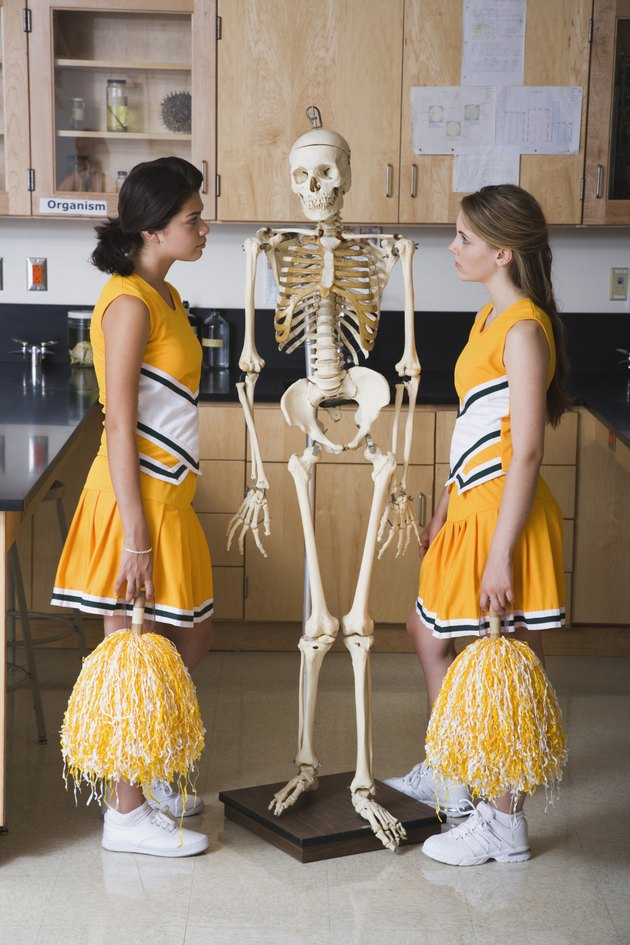 Cheerleaders standing face to face with human skeleton in classroom