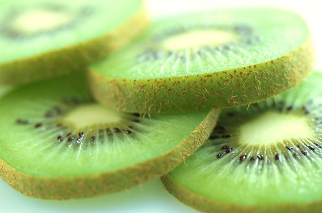 close-up of an array of kiwi fruit slices