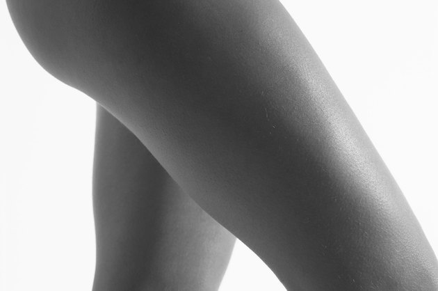 Studio shot of a woman's thighs