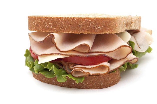 Turkey sandwich on wheat bread