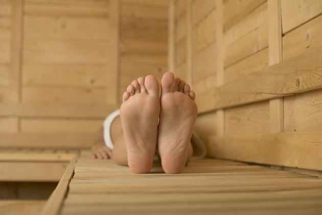 Feet in sauna