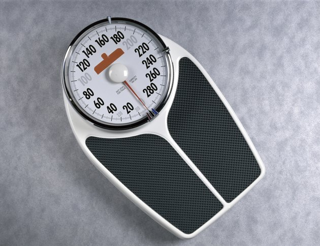 Close-up of a weight scale