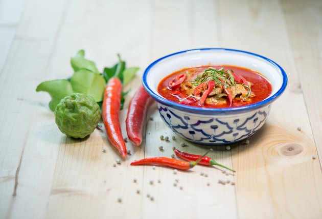mixing herb fresh vegetable and chili sauce