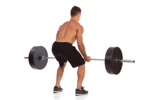 Muscular man showing a barbell row exercise, rear view. Full length studio shot isolated on white.