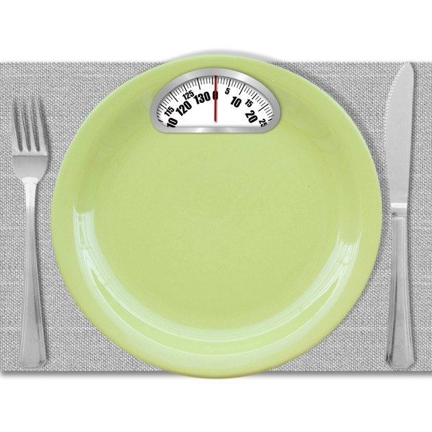 Diet concept. Plate with scales