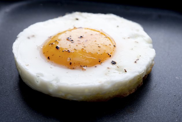 fried egg on non-stick frying pan