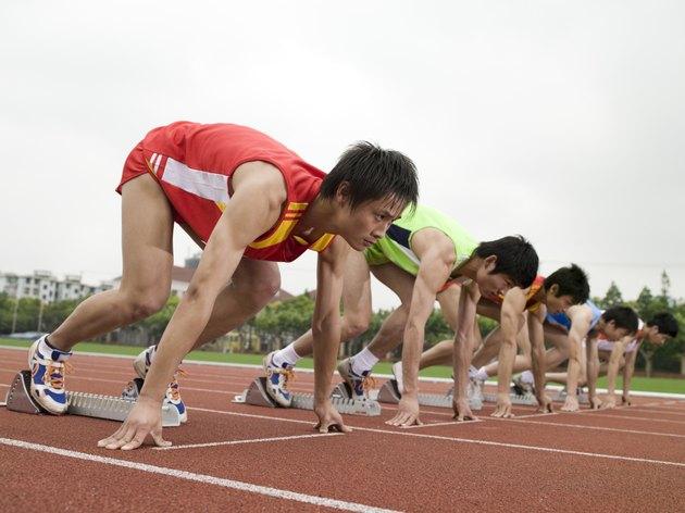 Athletes on starting line