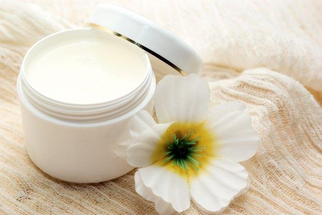Cosmetic Vaseline inside white jar
