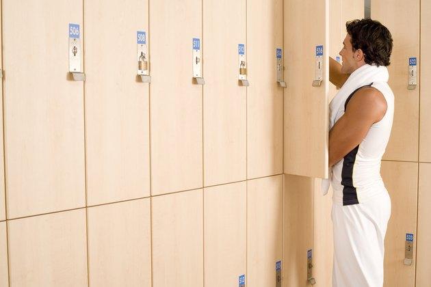 Man in locker room