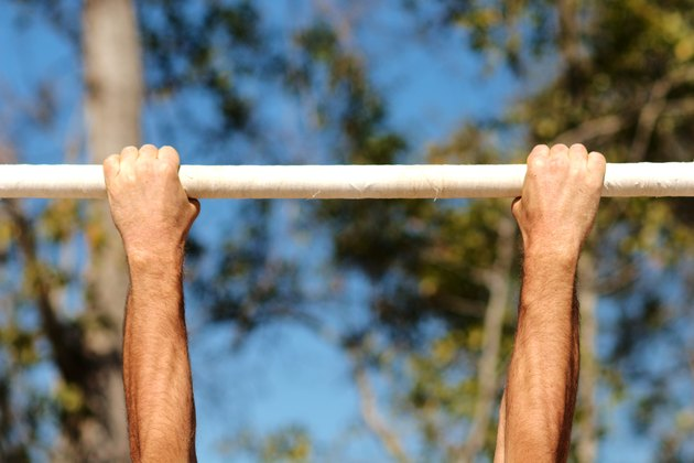 Hands on chin-up bar