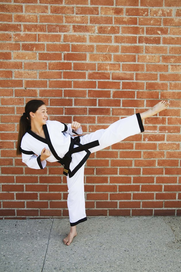 Girl doing martial arts