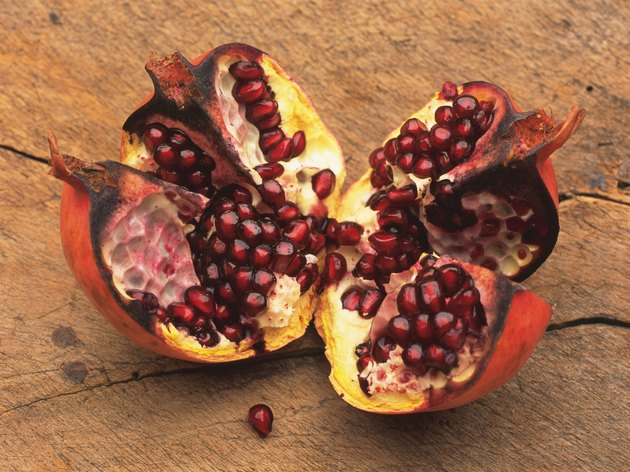 Pomegranate and seeds, High angle view