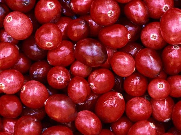 A close-up texture of cranberries