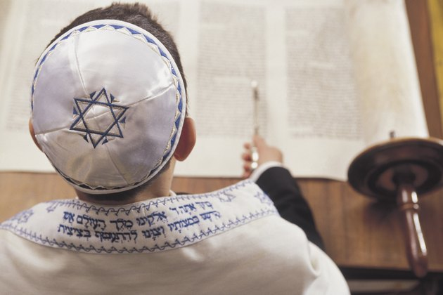 Boy reading the torah at his Bar Mitzvah