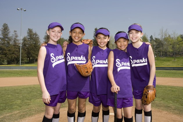 Portrait of little league softball team