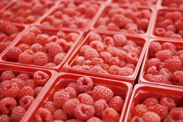 Containers of raspberries