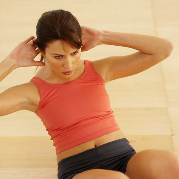 Elevated view of a woman performing abdominal crunches