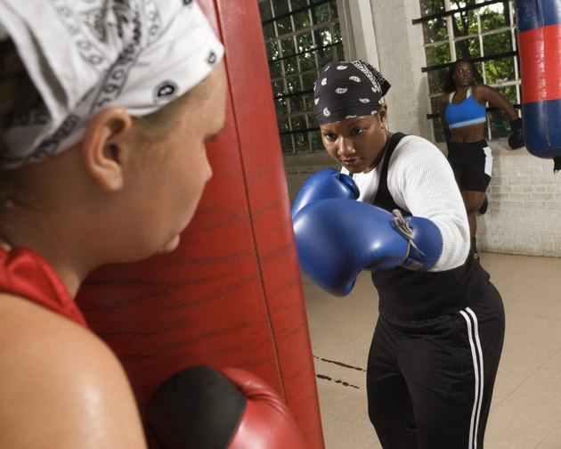 Women boxers training