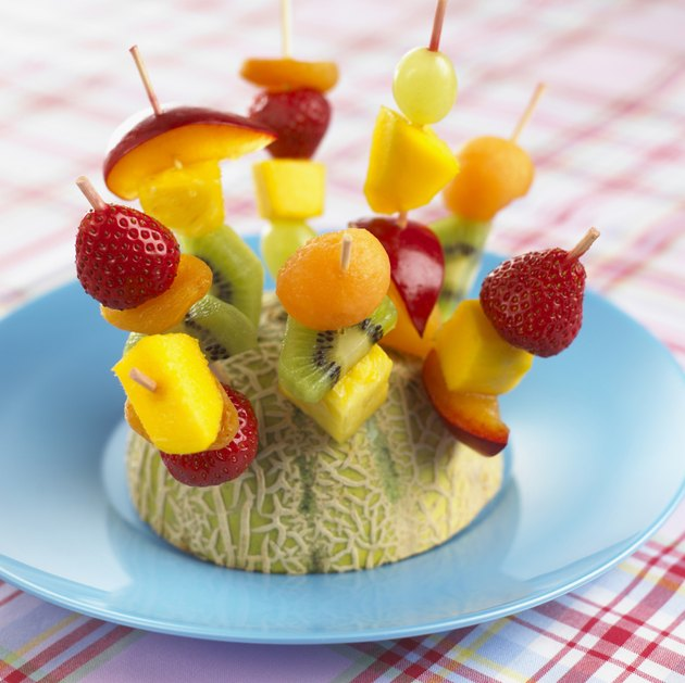 Fruit skewers , close up