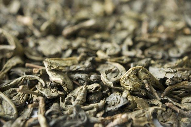 Green tea (camellia) leaves makro