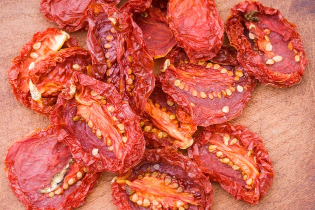 Sun Dried Tomatoes on Wooden Table