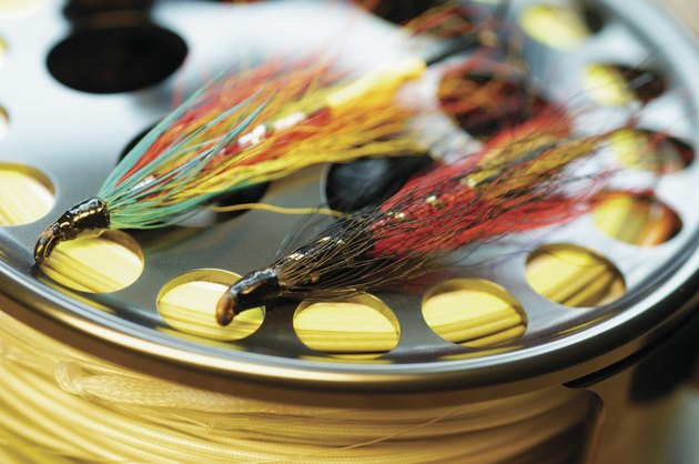 Close-up of fishing lures on a fishing reel