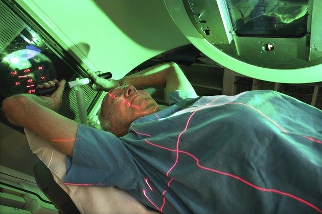 Elderly patient being scanned