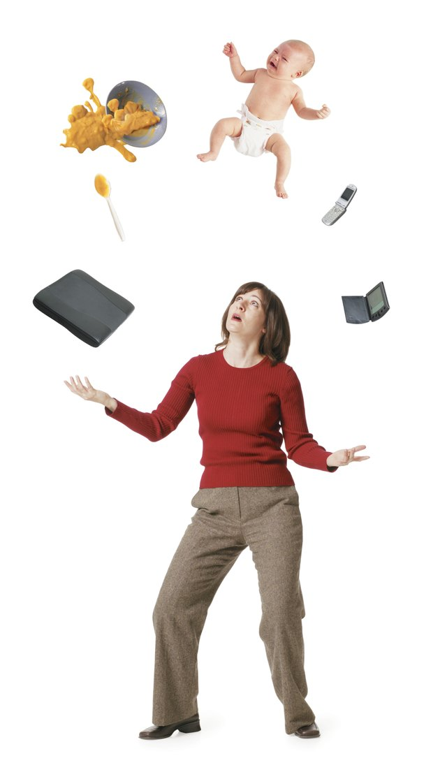conceptual photo of a caucasian woman as she tries to juggle her professioal life with her home life