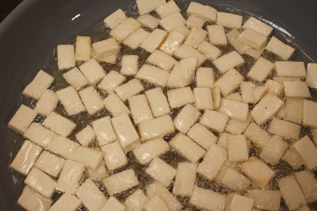 Top View of Firm Tofu Frying in Oil
