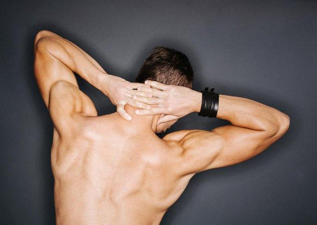 The back of a muscular man, showcasing his trapezius and triceps.