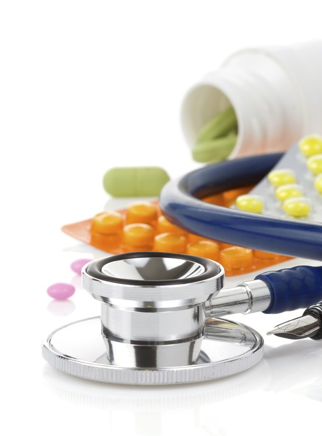 medical stethoscope with pills