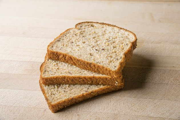 Three slices of wheat bread