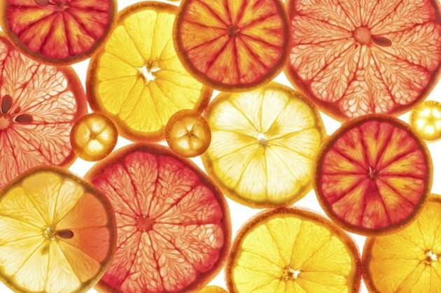Citrus fruits, including lemon, grapefruit, orange, blood orange and cumquats