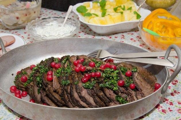 Moose steak in a bowl