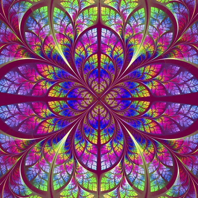 Multicolor fabulous fractal pattern. Collection - tree foliage.