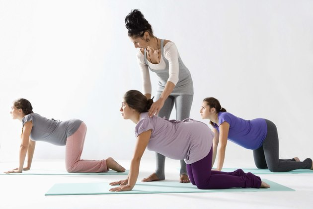 Pregnant women in exercise class