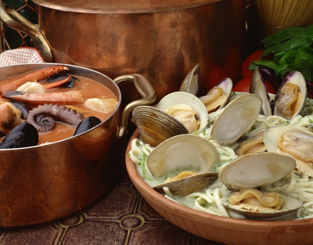 Seafood stew with linguine and clams