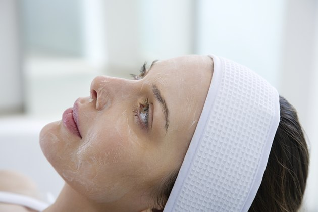 Woman having chemical peel