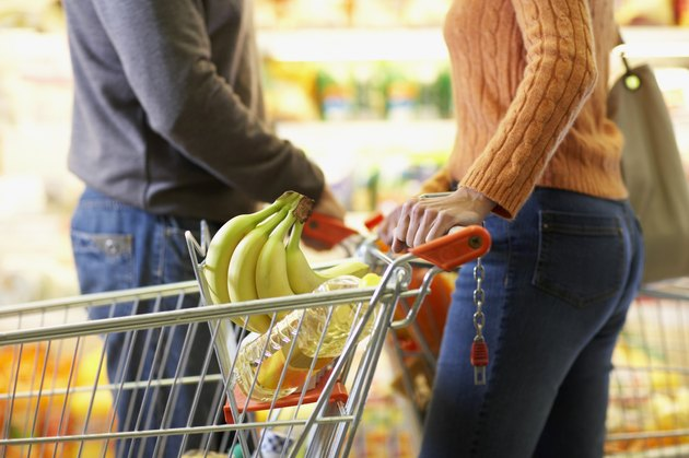 Man and Woman Passing Each Other in Grocery Store
